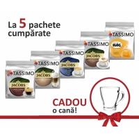 Promo 5 pachete Tassimo + cana sticla