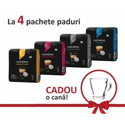 Pachet paduri CAFE ROYAL 4 pachete + cana sticla cadou