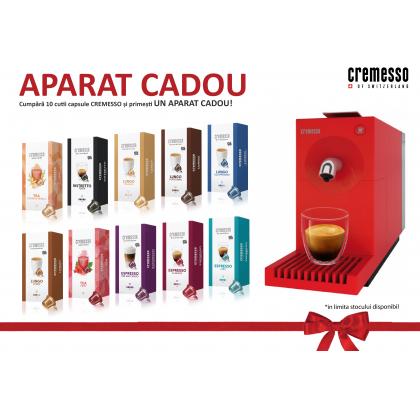 10 cutii Cremesso cu aparat UNO Rosu Cadou