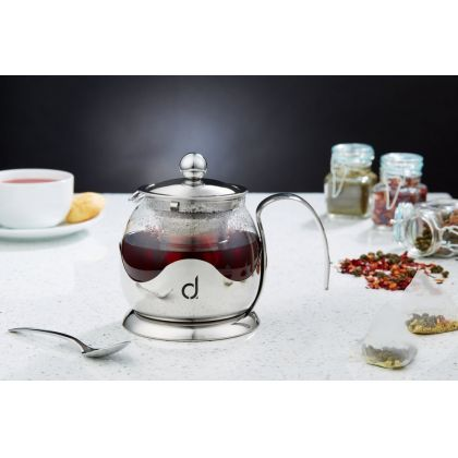 Set cadou ceainic din sticla si inox cu infuzor Andrew James